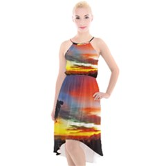 Sunset Mountain Indonesia Adventure High-Low Halter Chiffon Dress