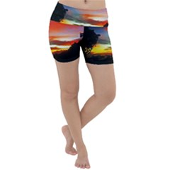 Sunset Mountain Indonesia Adventure Lightweight Velour Yoga Shorts by Nexatart