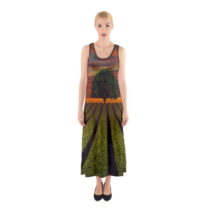 Natural Tree Sleeveless Maxi Dress