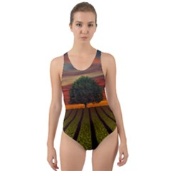 Natural Tree Cut Out Back One Piece Swimsuit