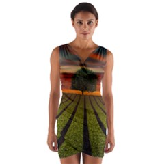 Natural Tree Wrap Front Bodycon Dress