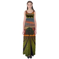 Natural Tree Empire Waist Maxi Dress