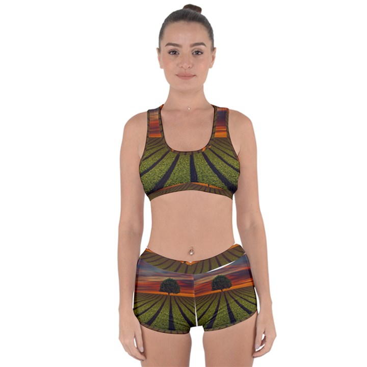 Natural Tree Racerback Boyleg Bikini Set