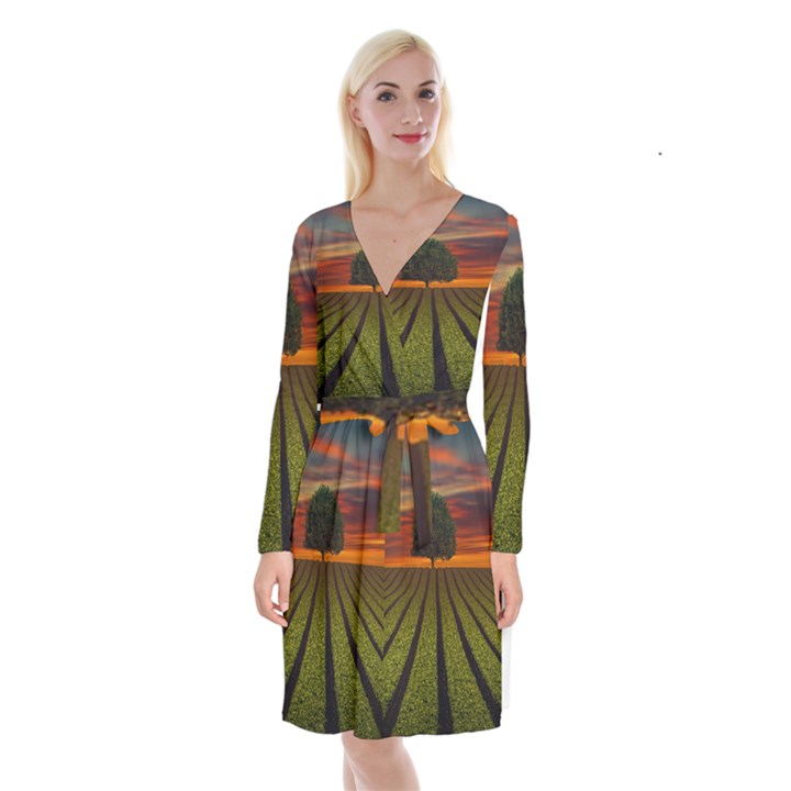 Natural Tree Long Sleeve Velvet Front Wrap Dress