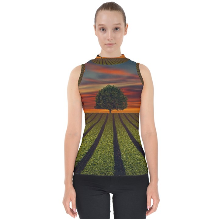 Natural Tree Mock Neck Shell Top