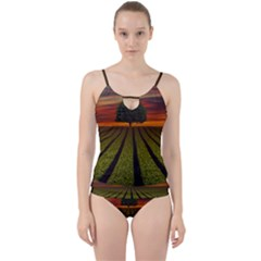 Natural Tree Cut Out Top Tankini Set