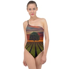 Natural Tree Classic One Shoulder Swimsuit