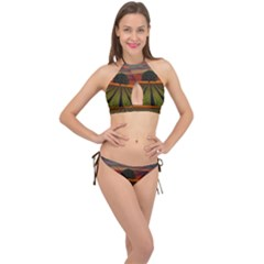 Natural Tree Cross Front Halter Bikini Set