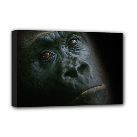 Gorilla Monkey Zoo Animal Deluxe Canvas 18  X 12  (stretched) by Nexatart