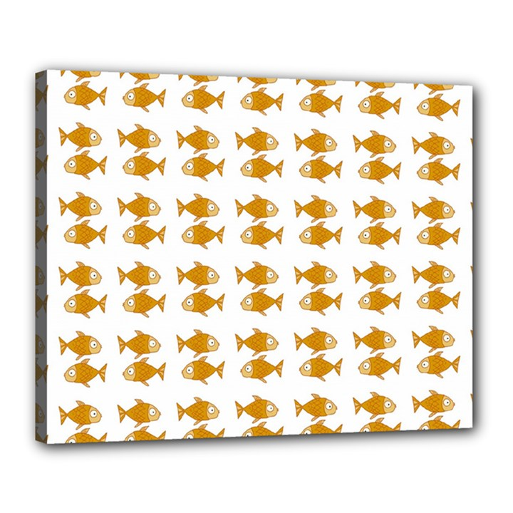 Small Fish Water Orange Canvas 20  x 16  (Stretched)