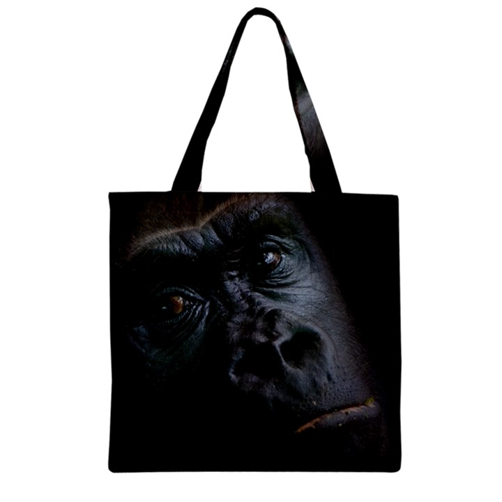 Gorilla Monkey Zoo Animal Zipper Grocery Tote Bag