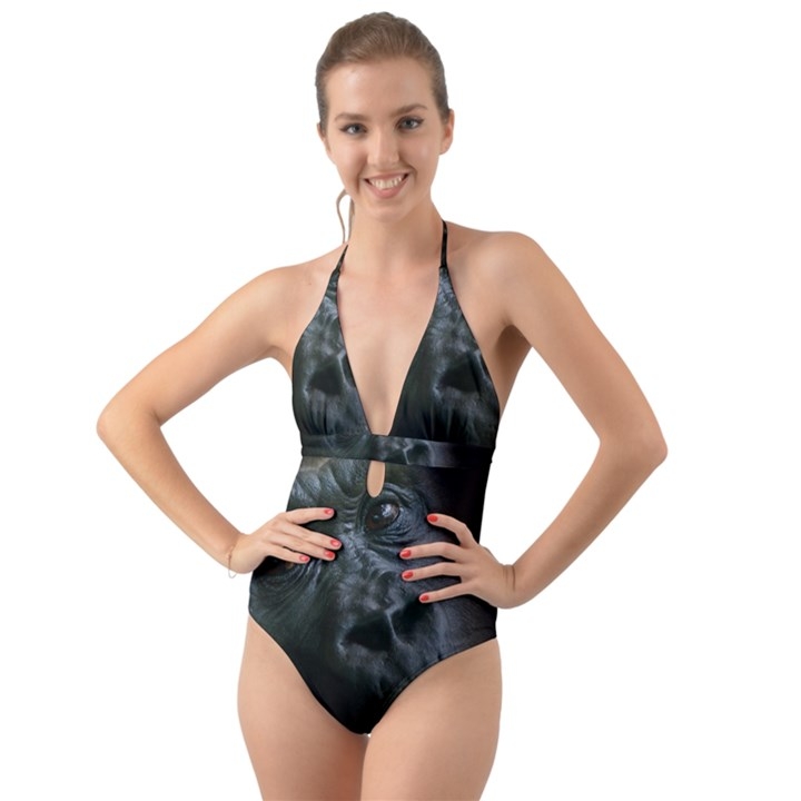 Gorilla Monkey Zoo Animal Halter Cut-Out One Piece Swimsuit