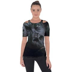 Gorilla Monkey Zoo Animal Shoulder Cut Out Short Sleeve Top