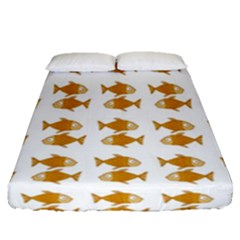 Small Fish Water Orange Fitted Sheet (queen Size)
