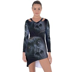 Gorilla Monkey Zoo Animal Asymmetric Cut Out Shift Dress by Nexatart