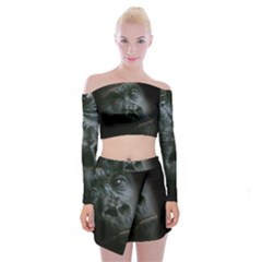 Gorilla Monkey Zoo Animal Off Shoulder Top with Mini Skirt Set