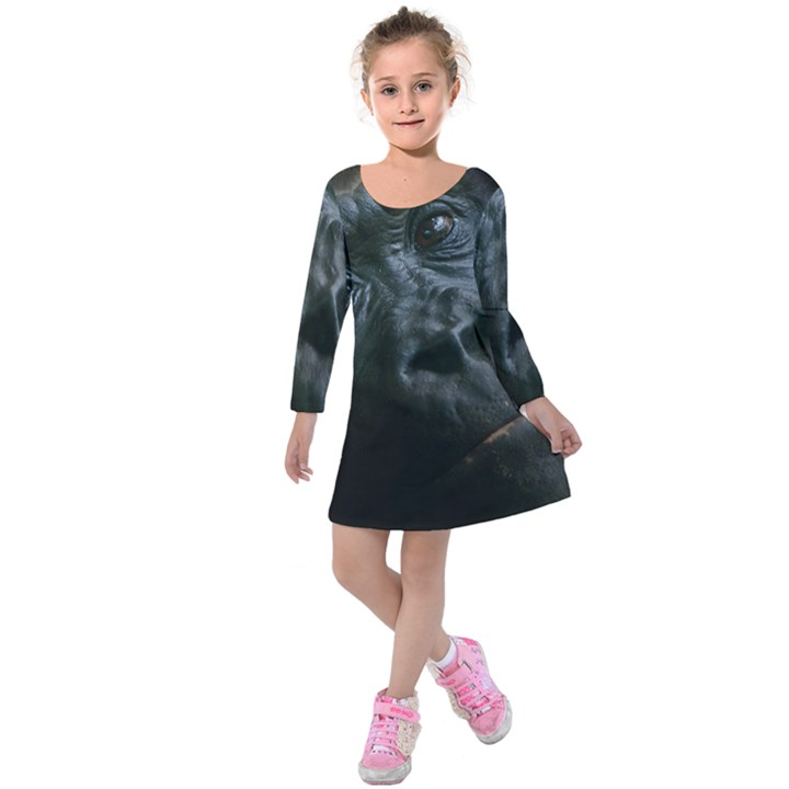 Gorilla Monkey Zoo Animal Kids  Long Sleeve Velvet Dress
