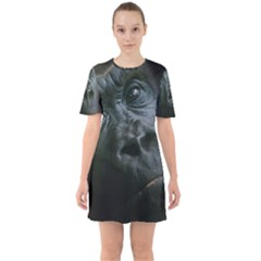 Gorilla Monkey Zoo Animal Sixties Short Sleeve Mini Dress