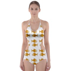 Small Fish Water Orange Cut Out One Piece Swimsuit