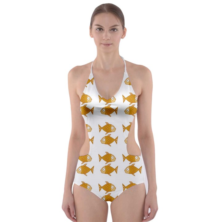 Small Fish Water Orange Cut-Out One Piece Swimsuit