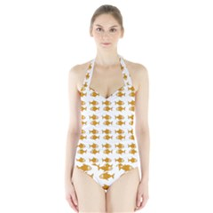 Small Fish Water Orange Halter Swimsuit