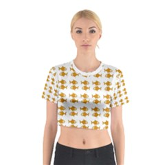 Small Fish Water Orange Cotton Crop Top
