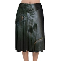 Gorilla Monkey Zoo Animal Velvet Flared Midi Skirt by Nexatart