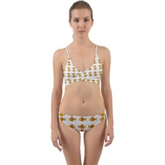 Small Fish Water Orange Wrap Around Bikini Set