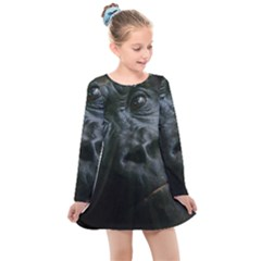 Gorilla Monkey Zoo Animal Kids  Long Sleeve Dress