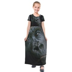 Gorilla Monkey Zoo Animal Kids  Short Sleeve Maxi Dress