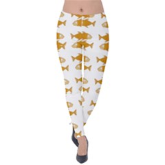 Small Fish Water Orange Velvet Leggings