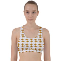Small Fish Water Orange Back Weave Sports Bra