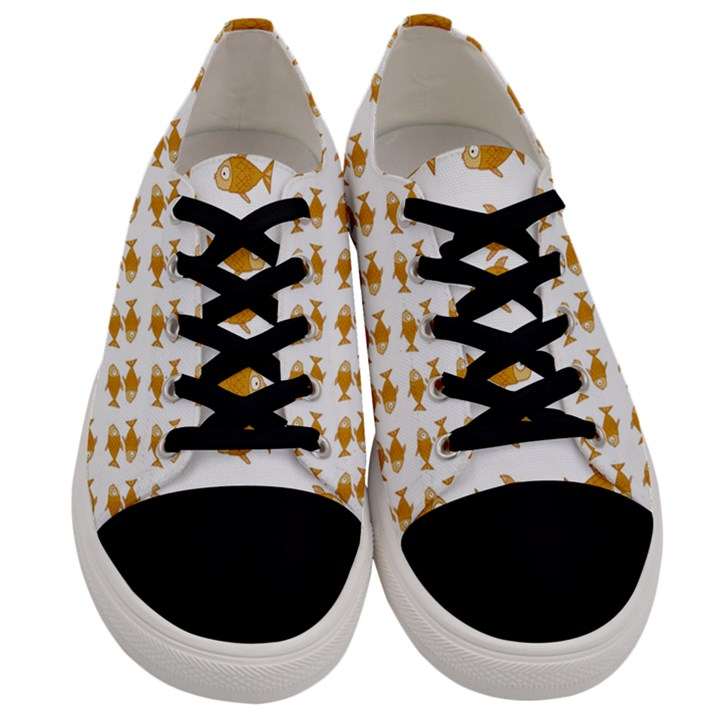 Small Fish Water Orange Men s Low Top Canvas Sneakers