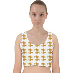 Small Fish Water Orange Velvet Racer Back Crop Top