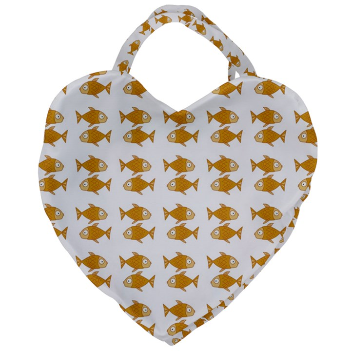 Small Fish Water Orange Giant Heart Shaped Tote
