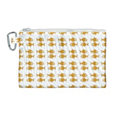 Small Fish Water Orange Canvas Cosmetic Bag (large) by Alisyart