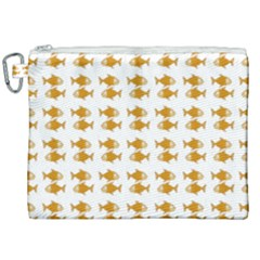 Small Fish Water Orange Canvas Cosmetic Bag (xxl) by Alisyart
