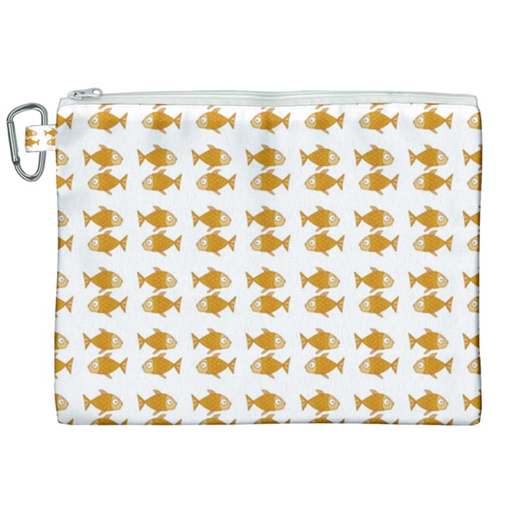 Small Fish Water Orange Canvas Cosmetic Bag (XXL)