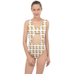 Small Fish Water Orange Center Cut Out Swimsuit