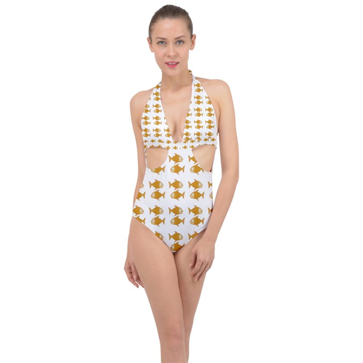Small Fish Water Orange Halter Front Plunge Swimsuit