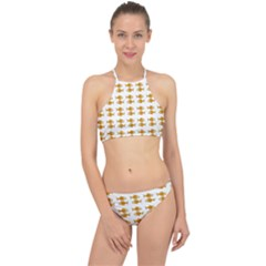 Small Fish Water Orange Racer Front Bikini Set