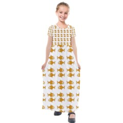 Small Fish Water Orange Kids  Short Sleeve Maxi Dress