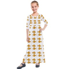 Small Fish Water Orange Kids  Quarter Sleeve Maxi Dress