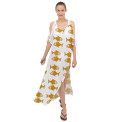 Small Fish Water Orange Maxi Chiffon Cover Up Dress