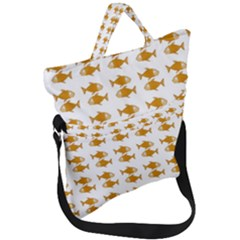 Small Fish Water Orange Fold Over Handle Tote Bag
