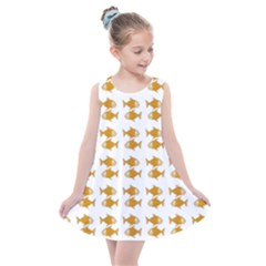 Small Fish Water Orange Kids  Summer Dress