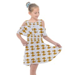 Small Fish Water Orange Kids  Shoulder Cutout Chiffon Dress