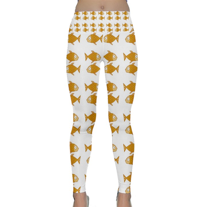 Small Fish Water Orange Lightweight Velour Classic Yoga Leggings