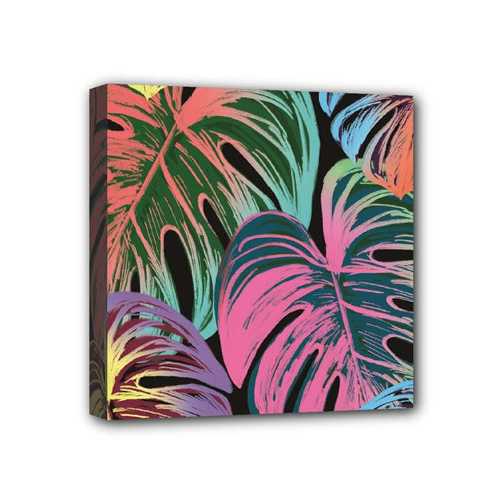 Leaves Tropical Jungle Pattern Mini Canvas 4  x 4  (Stretched)