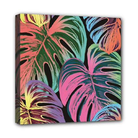 Leaves Tropical Jungle Pattern Mini Canvas 8  X 8  (stretched)
